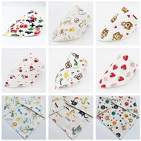 band saliva - Baby Bibs Waterproof Burp Cloths Newborn Scarf Triangle Towel Cartoon Print Double Cotton Cloth Band Baby Feeding Saliva Towels Free Ship