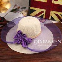 Wholesale Women Organza Hat Kentucky Derby Wedding Church Party Floral Caps summer Hat free ship