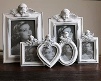 Wholesale Lovely Photo Frames White Resin Rectangle Bedroom Decor Cupid Angel Baby Birthday Creative Kids Mini Picture Photo Frame