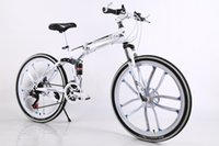 Wholesale 26 Inch speed Folding Mountain Bike Double Shock Absorption Shift Speed bike Double disc One wheel Ten rim bicycle