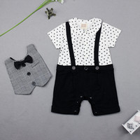 bib jumper - Real New baby boys cotton short sleeve bow bibs rompers cute baby fake strap jumpers happy birthday gentleman infant overalls J2