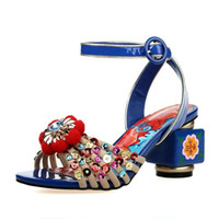 artists covers - 2016 Super Brand New Arrival Extreme Luxuries Artist Bohemian Sandals Velvet Elegant Chunky High Heels Fetish Unique Women Shoes