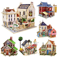 Wholesale 3D stereo jigsaw puzzie toy house assembly model wood DIY manual high quanlity of childern toy