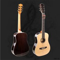 Wholesale 34 inch Single Board Guitars Brown Rose Wood Strings Closed Knob Hollow Acoustic Guitar Travel Guitar