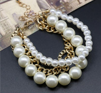 Wholesale Jewelry National Imitation Round white pearl love bracelet for women bracelets bangles femme Beaded Strand box chain