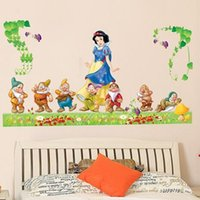 animated sticks - Snow White and the Seven Dwarfs Sticker Animated Cartoon Home Decoration Wall Adhesive Nursery Home Decorative Sticker