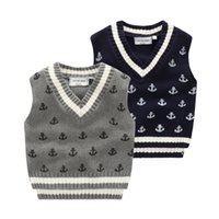 anchor screws - 2016 quality boys jacquard knitted vest Baby clothes kids anchor sweaters children Autumn winter Screw v neck cotton knitwear cm