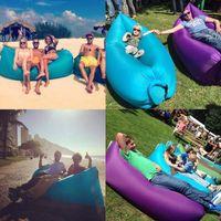 Wholesale Fast Inflatable hangout Air Sleep Hiking Camping Bed Beach Sofa Lounge Banana Sleeping bags banana lazy lay bag