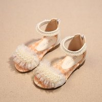 babay shoes - 2016 children summer open toed sandals Girls princess pearl lace shoes kids flat Sandals babay Shoes SIZE