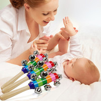 Wholesale Baby Rattle Rainbow Musical Instrument Toy Wooden Hand Jingle Ring Bell Rattles For Baby Kid Gift