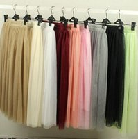 Wholesale 2016 ivory Long Length Layered Tulle Tutu Skirts For Adults Custom Made A Line Cheap Party PromWomen colour Clothing Cheap