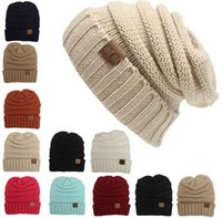 Wholesale Fashion Hats Caps Colors Knitted CC Women Beanie Girls Autumn Casual Cap Women s Warm Winter Hats Unisex Men Casual Hat Skull Caps
