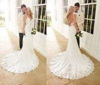 Wholesale 2016 Beach Mermaid Wedding Dresses Sexy V Neck Backless Satin Lace Embroidery Empire Waist Sweep Train Wedding Dresses Bridal Gowns HS05