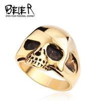 Wholesale Men s Fashion Punk Black Silver Gold Alien Skull Rings Man L Stanless Steel Fashion Jewelry BR8 US size