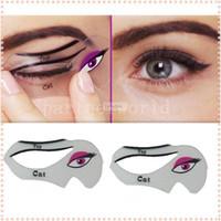Wholesale DHL set Cat Eye Stencils Makeup Stencil Eyeline Models Template Eyeliner Card Auxiliary hot gilr Smoky eyeliner tool