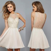 beige homecoming dresses - Charming Beige Lace And Chiffon Sheer Jewel Short Homecoming Dresses Cheap Illusion Back Sexy Cocktail Dress Custom Made EN8108