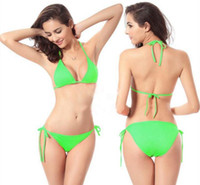 Wholesale 500sets Colors Free Size Candy Colors Pieces Top and Bottom Women s Sexy Bikini Swimwears Swimsuit Fashion