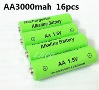 Cheap 2016 Free shipping 16pcs lot aa rechargeable battery 3000mah 1.5V aa New Brand Alkaline Rechargeable batery for led light toy mp3 New