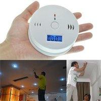 Detector de monóxido de carbono del sistema de alarma para la seguridad en el hogar de envenenamiento de gas de humo de alarma alarmas probador LCD con caja de venta al por menor 50pcs