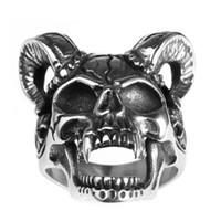 animals goats - Stainless Steel Vintage Skull Skeleton Bone Goat Horn Fashion In Design Ring for Men Avivahc