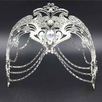 Wholesale Party Masks Fashion Cosplay Halloween Mask Fun White Black Silver Gold Wedding Party Mask Men Women Chain Venetian Metal Prom Mask