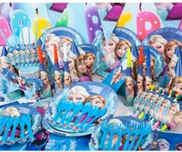 Wholesale Frozen Anna Elsa Cartoon Birthday Party Decoration Set Kids Baby Christmas Party Ornament Straw Plate Disposable Paper tableware