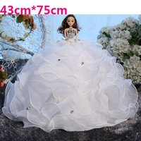 Wholesale Barbie Wedding Dress Dolls Barbie Dolls with Wedding Dress Big Skirt Luxury D Eye Children Birthday Present Toy Bride Decoration Gift Girl