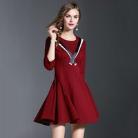 accordion pleated skirt - 2016 autumn new women dress red and black two color black and white ribbon dress accordion pleated skirt
