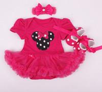 Bébé garçons filles Noël Minnie combinaisons bébé nouveau-nées des années robe de coton vêtements enfant vêtements enfants porter jupe pompon 3 pièces ensembles GLS04B