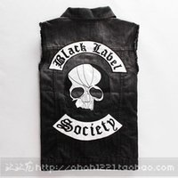 active label - black label society skull doom crew inc Sons of Anarchy motorcycle multi pocket polo man mens sports Denim jacket vest
