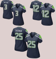 active fans - women s football jerseys cheap female Seahawks Russell Wilson Richard Sherman FAN blue Soccer rugby t shirts Size M XL