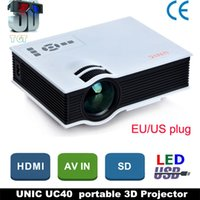 Wholesale DHL Original UNIC UC40 LED Projector Mini Pico portable D Projector HDMI Home Theater beamer multimedia proyector Full HD1080P