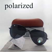 Cheap New Men Women Polarized Sunglasses Glasses Fishing Goggles Eyewear Accessories UV400 58mm Size aviator Sun glasses Withe brown box cases