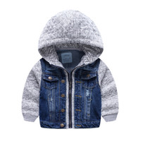 Wholesale Boutique New Kids Washed Denim Coat with Hood Knitted Fall Winter Boys Outwear Jacket Fashion Children Clothing