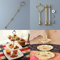 Wholesale 1 Sets Tier Cake Plate Stand Plate Not Include Handle Crown Fitting Metal Wedding Party Silver Golden