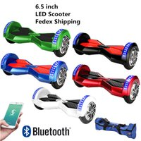 Wholesale New Phone App LED Scooters Hoverboard Bluetooth Music Player Smart Self Balancing Wheel Electric inch Two Wheels Skateboard Dropshipping