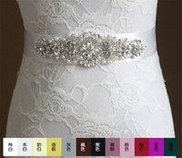 Wholesale Vintage Style Wedding Bridal Belt Dress Sash Crystal Rhinestone Pearl Beaded Belt White Purple Black Coffee Blue
