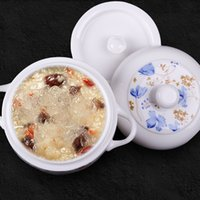 Wholesale Factory Direct Sale Bone China Ceramic Nest Slow Cooker Soup cup soup water resisting liner single binaural stew pot with lid