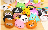 best japanese cartoon - Best price Cute Mini key Wallet bag Women Silicone Coin Purse Japanese Candy Color lovely Animals Jelly Silicone Coin bag