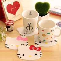 Wholesale 4 Hello kitty mat cup coaster Kawaii placemat for mugs tea coffee Silicone pad Table decoration School supplies