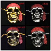 adult men pirate costume - Skeleton pirate mask Full Face Halloween Party Masks protect warrior costume Scary Ghost Mask gold silver