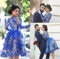 Wholesale 2017 Royal Blue Sheer Long Sleeves Lace Cocktail Dresses Scoop Knee Length A Line Short Homecoming Party Gowns Prom Dresses Vestidos BO9853