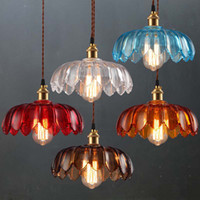 american shanghai - American restaurant glass chandelier creative personality cafe bar industrial complex ancient Shanghai lotus chimney droplight four color