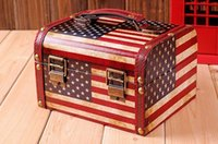 american container homes - Retro USA American Flag Home Storage Container Box Jewelry Case Wood PU Leather