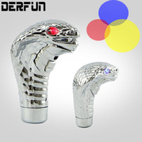 Wholesale Car Cobra Head Gear Shift Knob BLUE RED Eye LED Flashing Light Shifter Manual Automatic Universal Gear Shift Lever