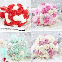 Wholesale 2016 Hot Bridal bouquet flower handmade weeding bouquet wedding flower pearl silk ribbon bridal bridesmaid hands holding rose flower cm