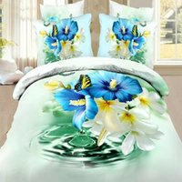 aqua comforter sets queen - reactive d floral cot bedding set butterfly duvet doona cover bed sheet pillow cases queen size bedclothes aqua
