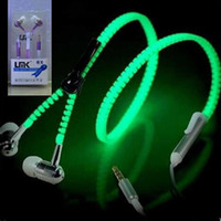 Wholesale Zipper LED Earphone Light up Luminous Wired Control Lighting Headset Headphones In Ear Metal With MIC For Iphone Samsung No Retail Package