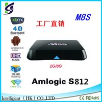 Wholesale Hot M8S Amlogic S812 Quad Core GHZ Android TV Box GB G H HEVC K AC BT HDMI SPDIF RJ45 XBMC KODI14 Smart TV Box