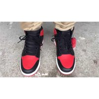 Wholesale 555088 BRED AIR RETRO BANNED HIGH OG MENS BASKETBALL SHOES NEW SZ MEN OUTDOOR SPORT SHOES HI BLACK RED Released